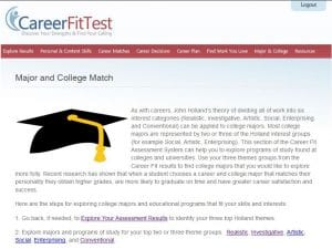 Sample results major and college match
